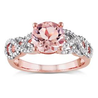 Miadora Rose Goldplated Silver Morganite and 1/10ct TDW Diamond Ring (H-I, I2-I3)