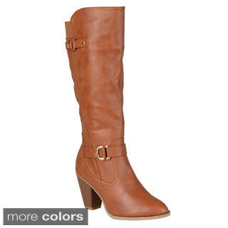 Journee Collection Women's 'France' Regular and Wide-calf Ankle-strap Buckle Knee-high Dress Boot