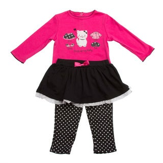 GIrls Pink/ Black Polka Dot and Cat Applique 2-piece Clothing Set