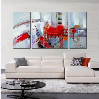 Hand-painted 'Filled with Light' 3-piece Gallery-wrapped Canvas Art Set