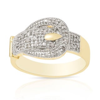 Finesque Gold Over Sterling Silver 1/4 ct TDW Diamond Buckle Design Ring (I-J, I2-I3)