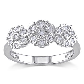 Haylee Jewels Sterling Silver 1/5ct TDW Diamond Cluster Ring (H-I, I2-I3)