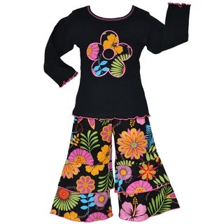 AnnLoren Girl's 2-piece Black Floral Outfit
