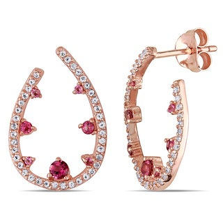Miadora Rose Goldplated Silver Pink Tourmaline and White Topaz Earrings