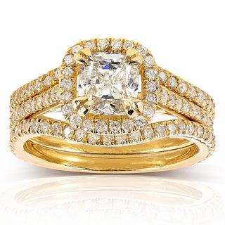Annello 14k Yellow Gold 1 3/4ct TDW Cushion-cut Halo Diamond 3-piece Bridal Set (H-I, I1-I2)