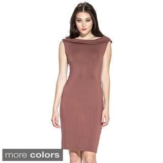 Amelia Women's Folded Collar Knee-length Dress