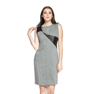 Amelia Women's Herringbone and Leatherette Sheath Dress