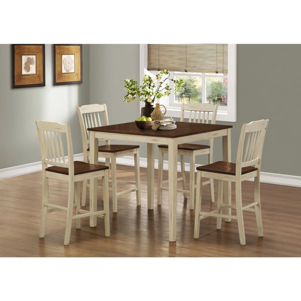 Antique White Walnut 5 Piece Counter Height Dining Set