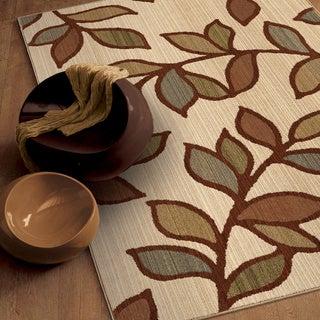 Versailles Shaggy Leaf Beige Rug (5'3 x 7'6)