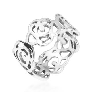 Open Abstract Rose Flower Band Sterling Silver Ring (Thailand)