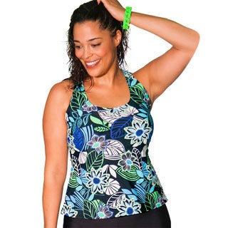 Aquabelle Limerick Women's Plus Size Black Racerback Tankini Top