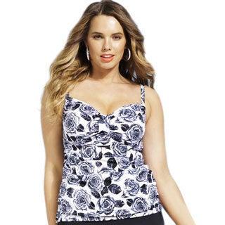 Shore Club Women's Plus Size Orchid Print Tab-front Tankini Top