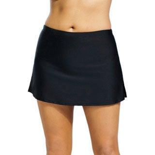 Women's Plus Size Black Side-slit Skirted Swim Bottoms