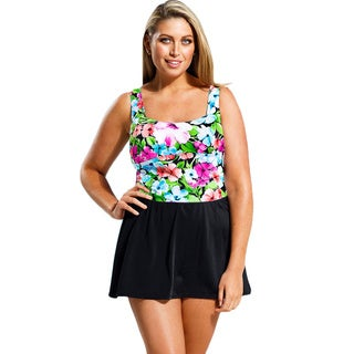 Beach Belle Women's Plus Size Floral Patch 1-piece Swimdress with Skirt