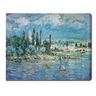 Claude Monet 'Landscape with Thunderstorm' Oil on Canvas Art