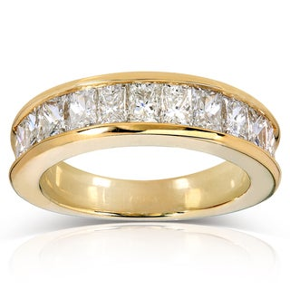 Annello 14k Yellow Gold 2 1/5ct TDW Princess Baguette Channel-set Diamond Band (G-H, VS1-VS2)