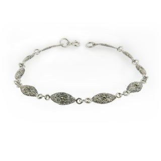 Handcrafted Textured Sterling Silver and Marcasite Bracelet (Thailand)