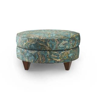 Bax Teal Cotton Upholstered Ottoman