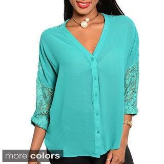 Stanzino Women's Chiffon Shoulder Lace Button-down Top