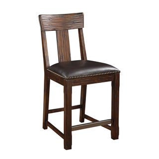 Brown Pine Barstool with Bonded Leather Seat (Set of 2)