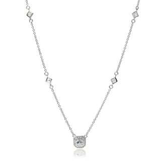 Journee Collection Sterling Silver Cubic Zirconia Halo Pendant
