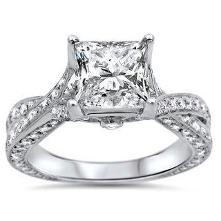 Noori 14k White Gold 1 4/5ct TDW Clarity-enhanced Diamond Engagement Ring (G-H, SI1-SI2)