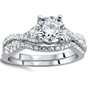 Noori 18k White Gold 1 1/4ct Clarity-enhanced Round-cut Diamond Bridal Set (G-H, SI1-SI2)