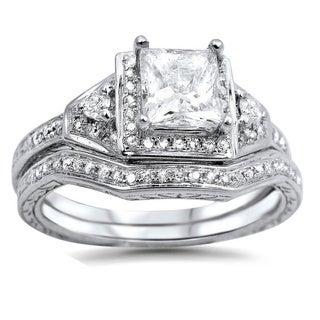 14k White Gold 1 1/10ct TDW Clarity-enhanced Diamond Bridal Set (G-H, SI1-SI2)