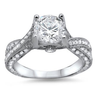 14k White Gold 1 1/3ct TDW Clarity-enhanced Diamond Engagement Ring (G-H, SI1-SI2)