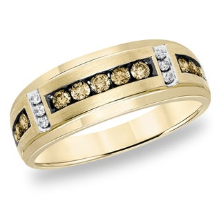 Cambridge 10k Yellow Gold 1/2ct TDW Champagne and White Diamond Men's Ring (I-J, I1-I2)