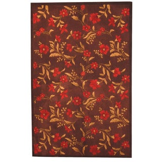 Herat Oriental Indo Hand-tufted Tibetan Brown/ Red Wool Rug (5' x 8')