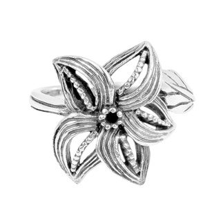 Curved Petals Beautiful Siam Flower .925 Silver Ring (Thailand)