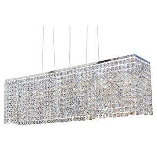 40-inch Modern Chrome Crystal Suspension Linear Chandelier
