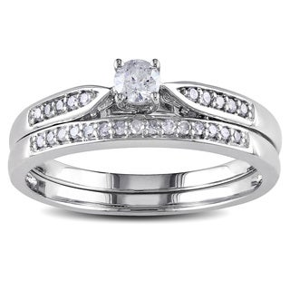 Miadora 10k White Gold 1/3ct TDW Diamond Bridal Ring Set (G-H, I2-I3)