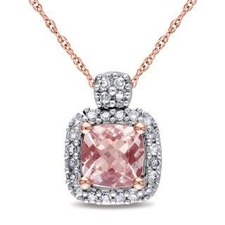 Miadora 10k Rose Gold Cushion-cut Morganite and 1/10ct TDW Diamond Halo Necklace (G-H, I1-I2)