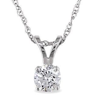 Miadora 14k White Gold 1/3ct TDW Diamond Solitaire Necklace (J-K, I2-I3)
