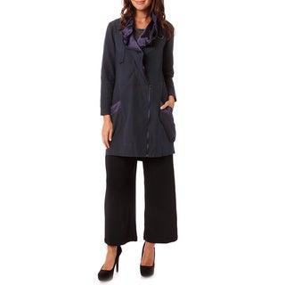 Mossée Women's Navy Satin-trim Raincoat Jacket