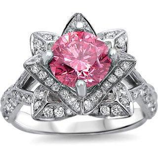 Noori 14k White Gold 2ct TDW Pink Round Diamond Lotus Flower Ring (SI1-SI2)