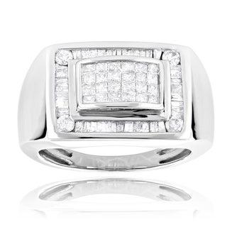 Luxurman 14k White Gold Men's 1 2/5ct TDW Princess and Baguette Diamond Ring (H-I, SI1-SI2)