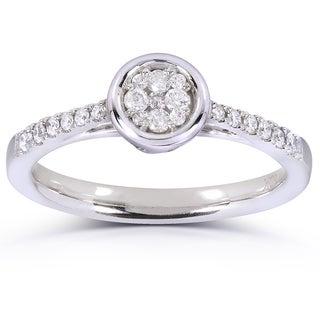 Annello 10k White Gold 1/4ct TDW Round-cut Diamond Engagement Ring (H-I, I1-I2)