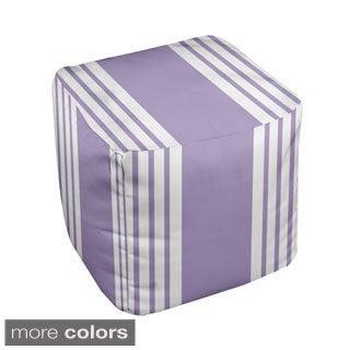 18 x 18-inch Two-tone Purple Stripe Decorative Pouf Ottoman