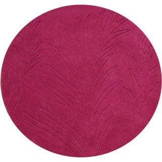 Alliyah Fuchsia Rose 4-foot Round Wool Rug