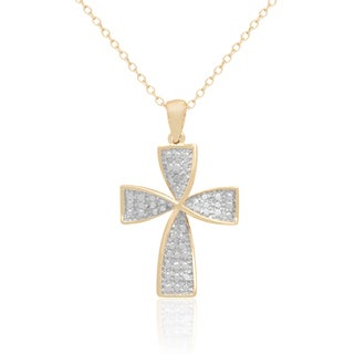 Finesque Yellow Gold over Silver Diamond Accent Cross Necklace