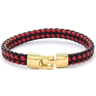 Crucible Goldplated Stainless Steel and Braided Red/ Black Leather Bracelet