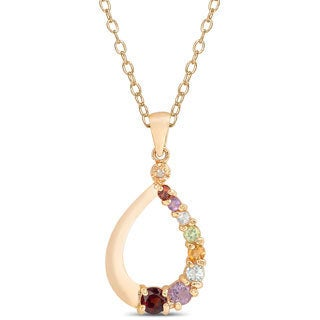 Dolce Giavonna Gold over Sterling Silver Multi-gemstone and Diamond Accent Teardrop Necklace
