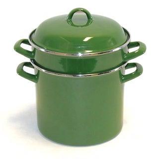 Garden Green Enamel-on-Steel 8-quart Pasta Pot