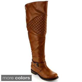 Blossom Women's 'Zoey-8w' Quilted Ankle Strap Over Knee-high Boots