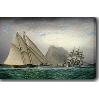 James Edward Buttersworth 'A Schooner and a Barque Sailing into a Harbor' Oil on Canvas Art