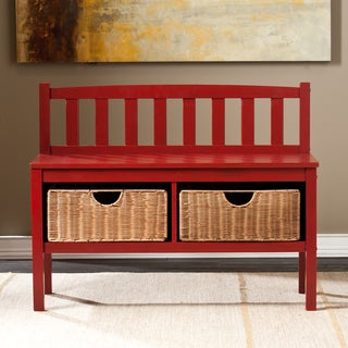 Upton Home Red Bench with Storage Baskets