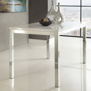 TRIBECCA HOME Reynold White Metal Modern Dining Table
